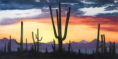 Desert Sunset Painting - Desert Sunset by Lindy Swinney