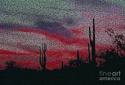 Digital Art - Desert Sunset Mosaic Northern Lights Version 2 by Joseph Baril