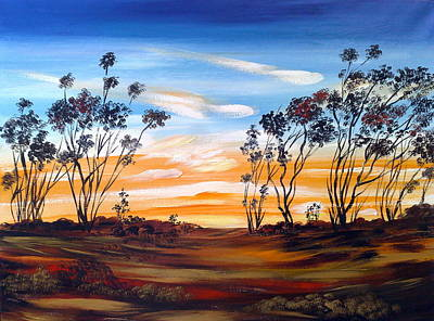 Art Print featuring the painting Desert Sunset by Roberto Gagliardi