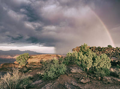 Photograph - Desert Thunderstorm With Rainbow by Kyle Lee