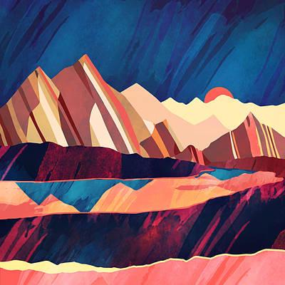 Abstract Landscape Digital Art - Desert Valley by Spacefrog Designs
