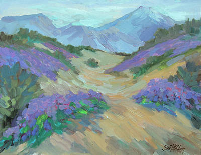 Art Print featuring the painting Desert Verbena by Diane McClary