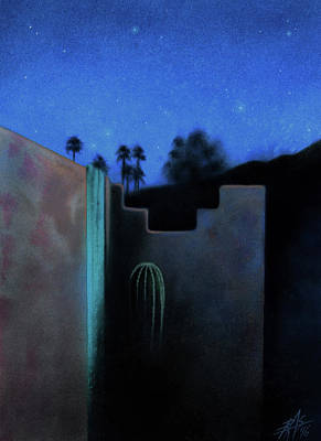 Painting - Desert View With Starlight And Cactus At Anza-borrego  by Robin Street-Morris