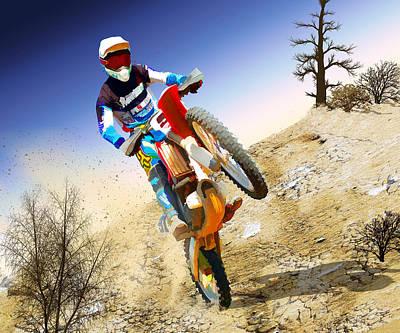 Macho Painting - Desert Wheelie Motocross by Elaine Plesser