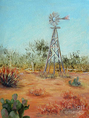Painting - Desert Windmill by Roseann Gilmore