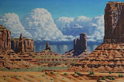 Painting - Rainstorm Over Monument Valley by Allen Kerns