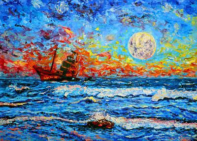 Aground Painting - Deserted Boat by Ericka Herazo