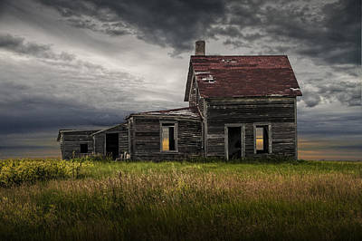 Photograph - Deserted Dilapidated Prairie Farm House by Randall Nyhof