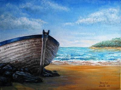 Boats Painting - Deserted by Eleonora Mingazova