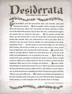 Inspirational Drawing - Desiderata 3 by Desiderata Gallery