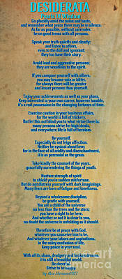 Desiderata Art Print by Celestial Images