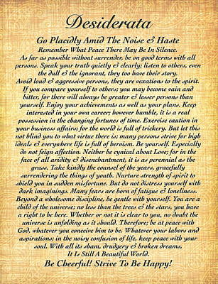 Calligraphy Drawing - Desiderata By Max Ehrmann On Fossil Paper by Desiderata Gallery