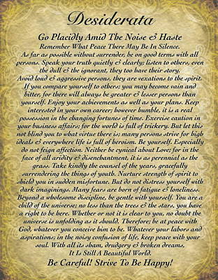 The Universe Mixed Media - Desiderata By Max Ehrmann On Antique Wallpaper by Desiderata Gallery