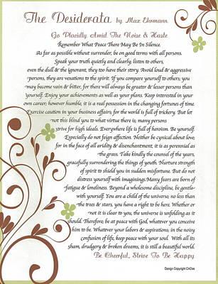 Inspirational Mixed Media - Desiderata Daisy Vines by Desiderata Gallery