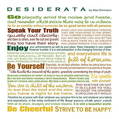 Digital Art - Desiderata - Earthtones - Square Format by Ginny Gaura
