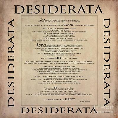 Digital Art - Desiderata - English - Written By Max Ehrmann by Claudia Ellis