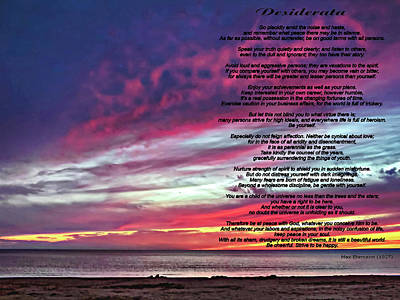 Sauble Beach Sunset Photograph - Desiderata - Huron Evening by Steve Harrington