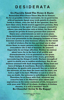 Desiderata Drawing - Desiderata Imprint On Abstract Watercolor Planet Surface Of Mercury To Venus by Claudette