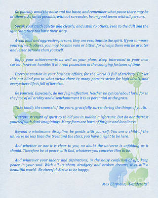 Desiderata In Blue Art Print by Olga Hamilton
