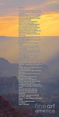 Chief Tecumseh Poem Digital Art - Desiderata On Beautiful Sunset Background by Pd