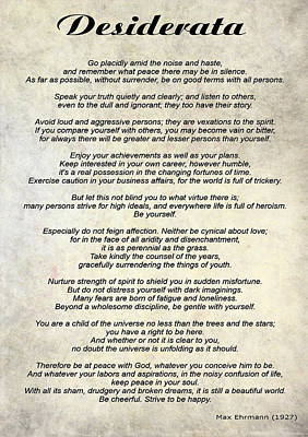 Poem Photograph - Desiderata - Paper by Steve Harrington