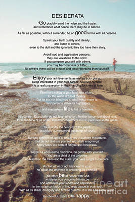 Photograph - Desiderata Poem By Max Ehrmann Over An Original Artwork Of Claudia Ellis by Claudia Ellis