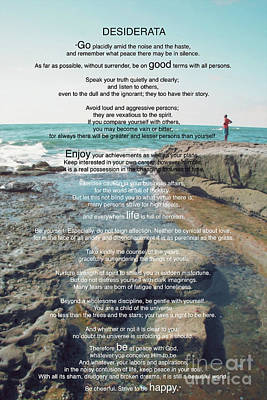 Photograph - Desiderata Poem By Max Ehrmann Over The Ocean And Rocks By Claudia Ellis by Claudia Ellis