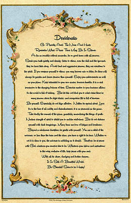 The Universe Painting - Desiderata Poem On Antique Paris Postcard by Desiderata Gallery