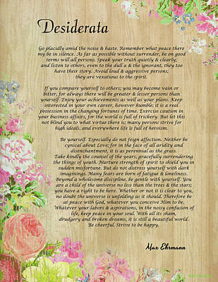Namaste Drawing - Desiderata Poem On Wood Panel With Floral Trim by Desiderata Gallery