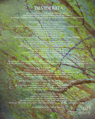 Digital Art - Desiderata Poem Over An Original Artwork By Claudia Ellis by Claudia Ellis