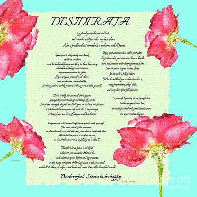 Photograph - Desiderata Poem Square With Roses by Claudia Ellis