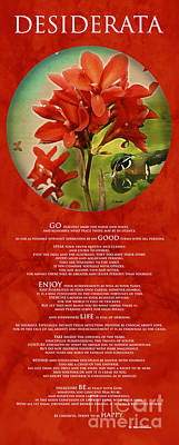 Painting - Desiderata Poem With Artwork 0f Nature Over Red Background by Claudia Ellis