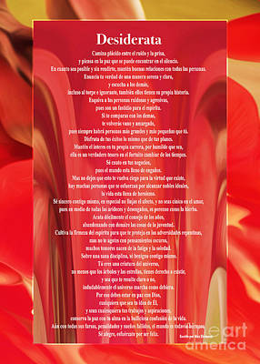 Digital Art - Desiderata - Spanish - Poema Escrito Por Max Ehrmann Sobre Un Diseno Original De Claudia Ellis by Claudia Ellis