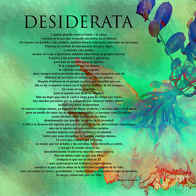 Photograph - Desiderata - Spanish Version #2 by Claudia Ellis