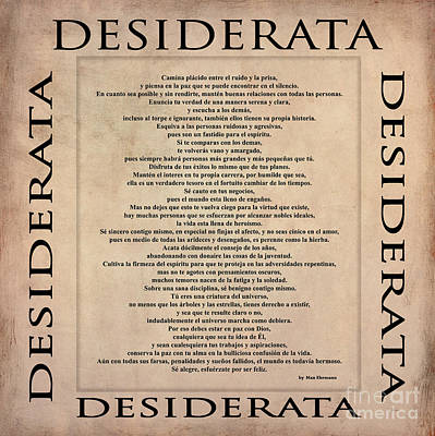 Digital Art - Desiderata - Spanish Version by Claudia Ellis