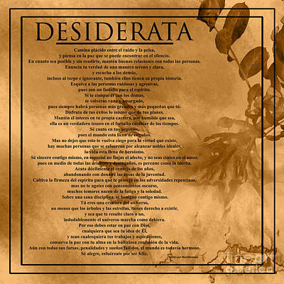 Photograph - Desiderata- Spanish Version - Golden Brown by Claudia Ellis