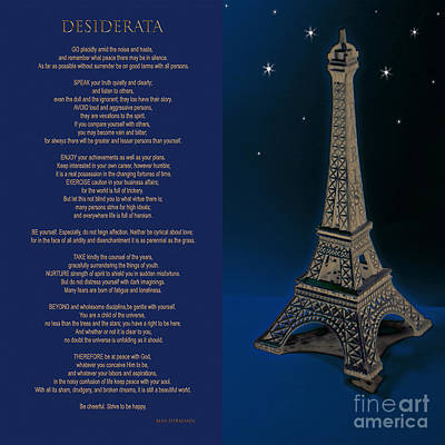 Photograph - Desiderata  With Eiffel Tower Artwork By Claudia Ellis by Claudia Ellis