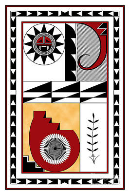 Digital Art - Southwest Collection - Design Five In Red by Tim Hightower