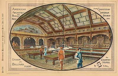 Billiards Painting - Design For A Billiard Room 1881 by Deuce