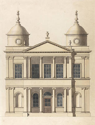 Elevation Painting - Design For A Church. Elevation Of West Front by Paul Sandby