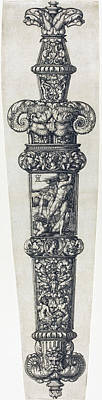 Drawing -  Design For A Dagger Sheath With Cain And Abel by Heinrich Aldegrever