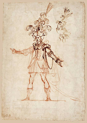 Drawing - Design For A Festival Costume With A Subsidiary Study Upper Right Of A Head In Profile To The Left by Baccio del Bianco