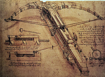 Pen And Ink Drawing Painting - Design For A Giant Crossbow by Leonardo Da Vinci