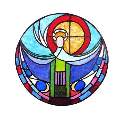 Curvilinear Painting - Design For A Window The Holy Trinity by Nigel Radcliffe