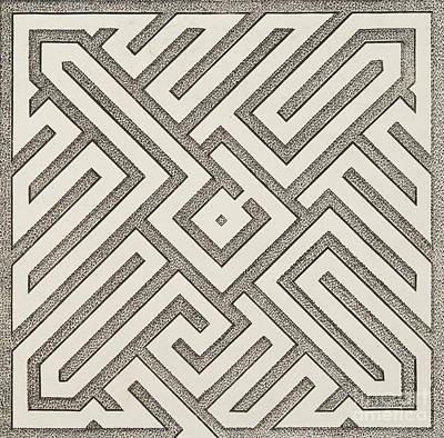 Optical Illusion Maze Drawing - Design For Parterre, From Theatre Des Plans Et Jardinages by Jacques Mollet
