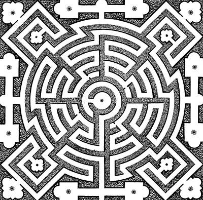Optical Illusion Maze Drawing - Design For Parterre, Published 1652 by Noel Mollet