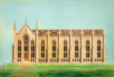 University Of Michigan Painting - Design For The North Wing Of The Library And Chapel At The Unive by Alexander Davis
