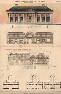 Library Painting - Design For The Public Library. Pawtucket Ri. 1899 by Cabot and Everett and Mead