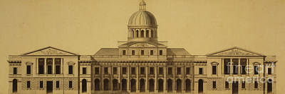 Thomas Jefferson Drawing - Design For Us Capitol, 1793 by Etienne Sulpice Hallet