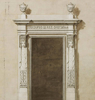 Entrance Door Drawing - Design For Wall Decorations For The Salon De Compagnie by Jean-Desmosthene Dugourc